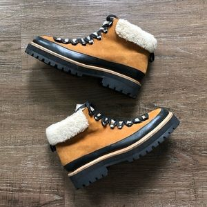 UO Lace Up Faux Fur Lined Winter Boots